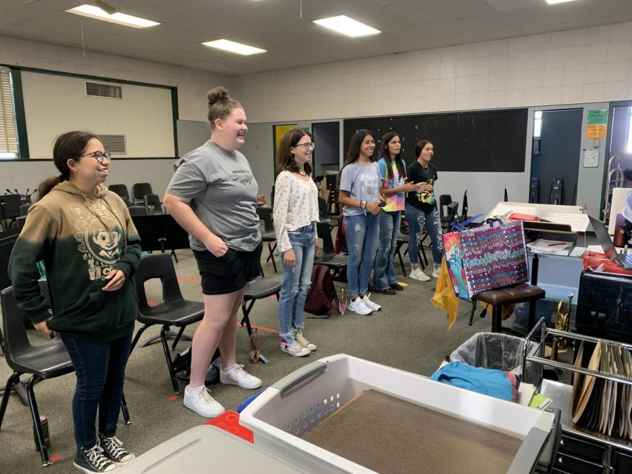 Choir students practicing in class. (Left to right: Gabi Garcia, Grace McIver, Reagan Ethridge, Aryca Ibarra, D.D. Delgado, and Jasmine Garcia) Not Pictured: Adamarie Hernandez and Marisela Rodriguez.